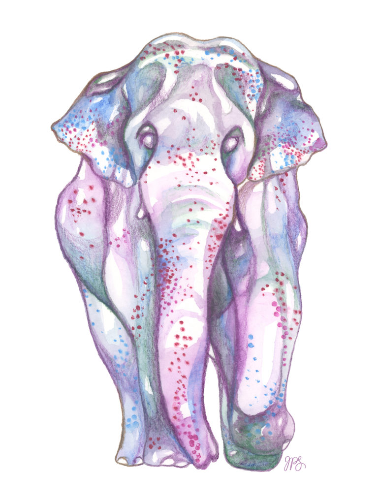 """""""Elephant"""" Watercolour on paper, 2019. Original SOLD. Prints Available."""